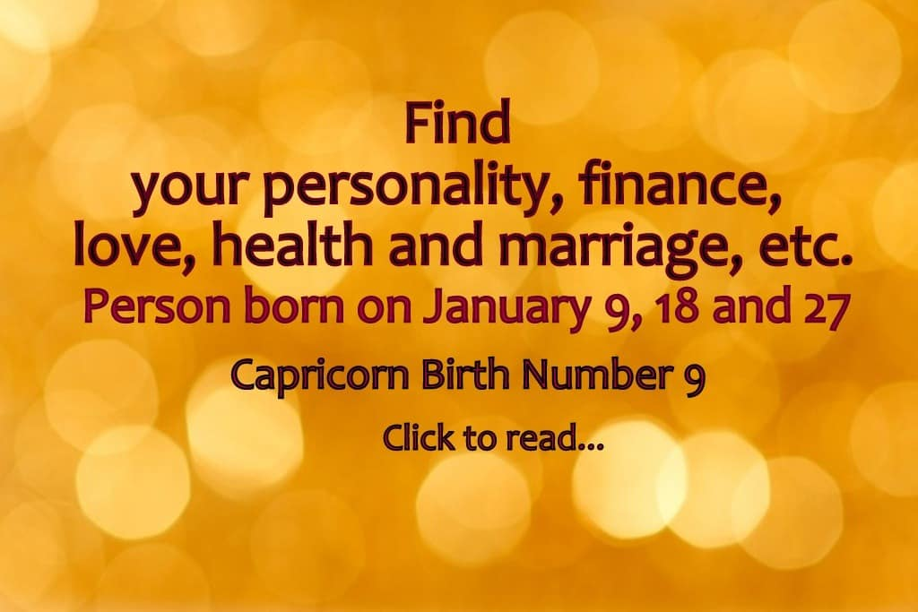 Date of birth 9 january numerology for marriage